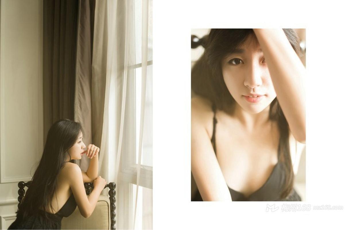 慵懒女生吊带裸背深V小礼裙安静甜美